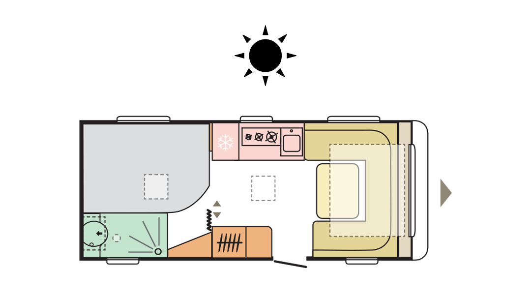 Adria Adora 522 UP - Day layout