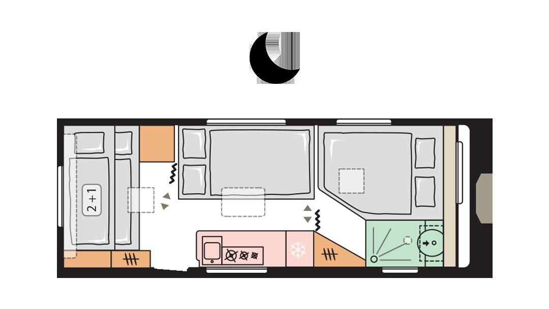 Adria Adora 613 PK - Night layout