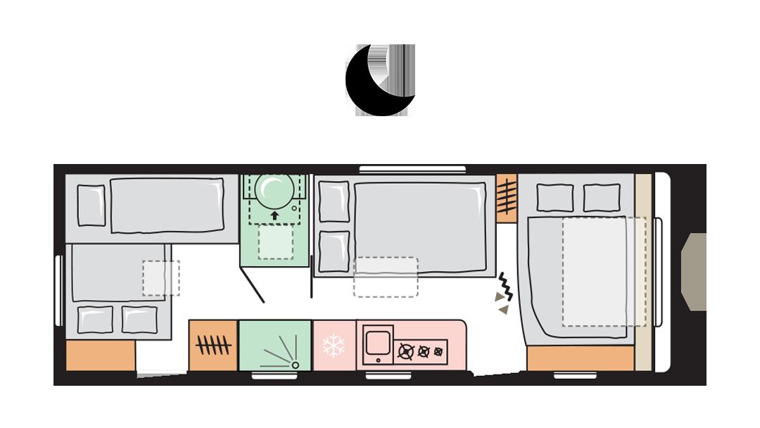 Adria Adora 673 PK - Night layout