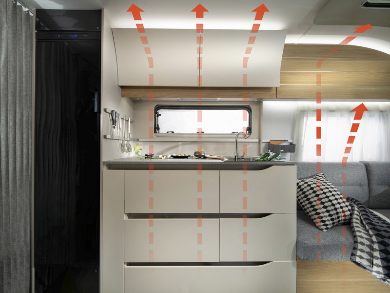 Adria Adora kitchen air flow system
