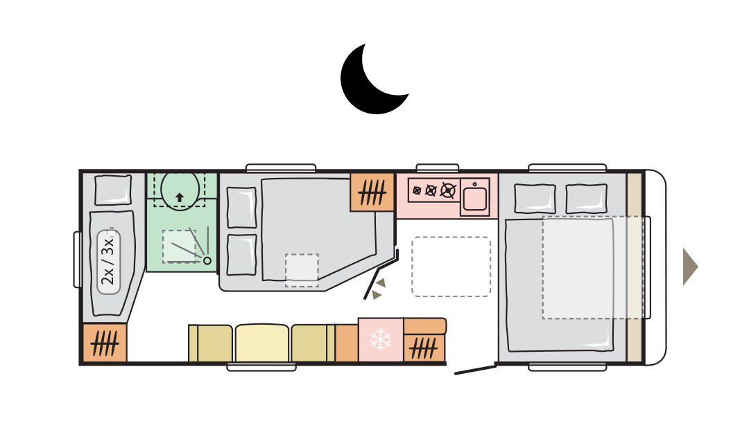 Adria Alpina 663 UK - Night layout