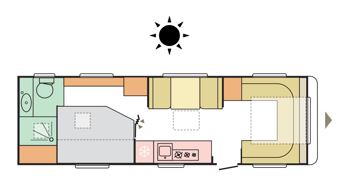 Adria Alpina 753 UP - Day layout