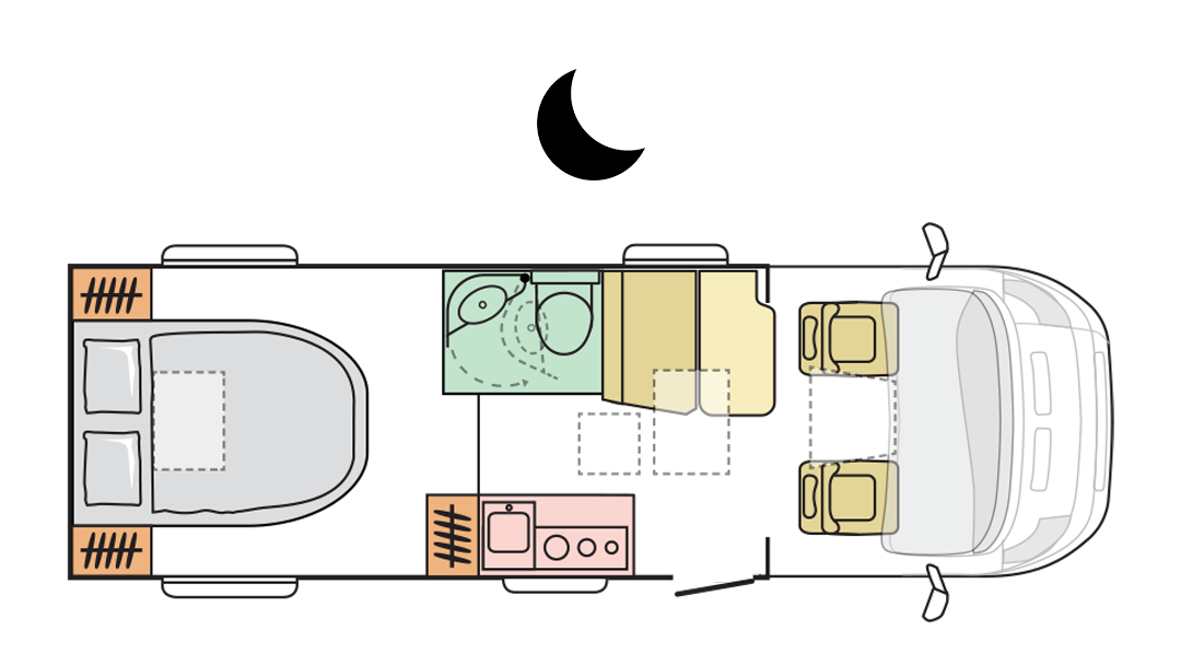 Adria Compact Axess SC - Night Layout
