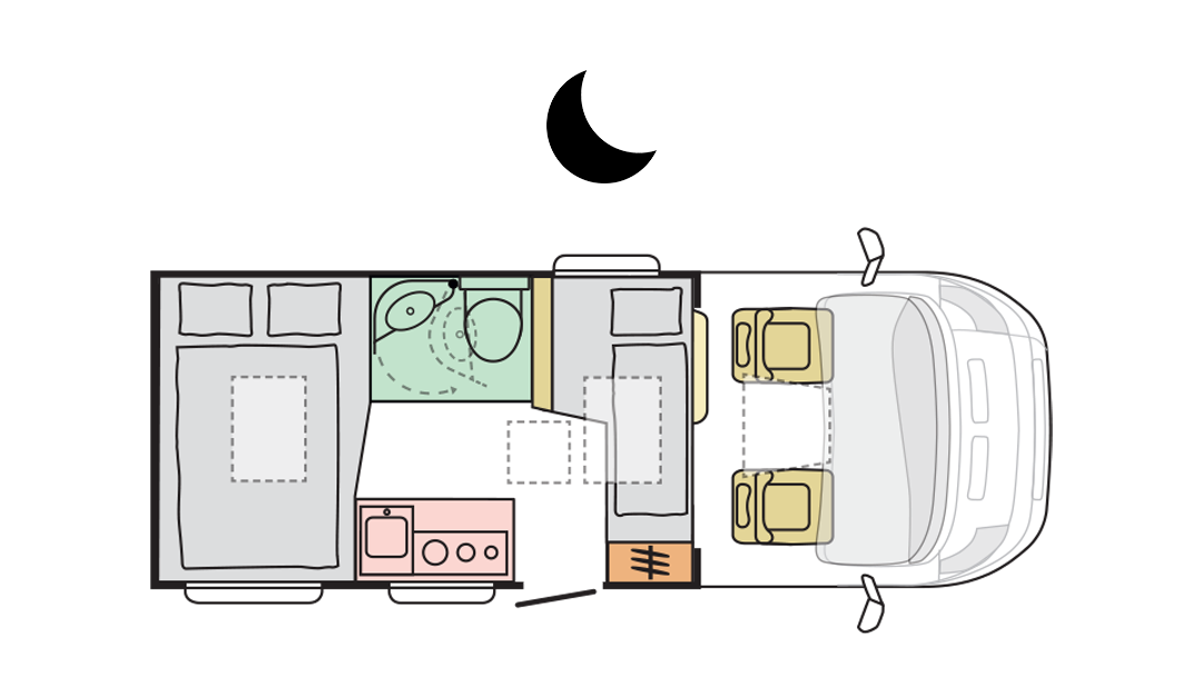 Adria Compact Axess SP - Night Layout