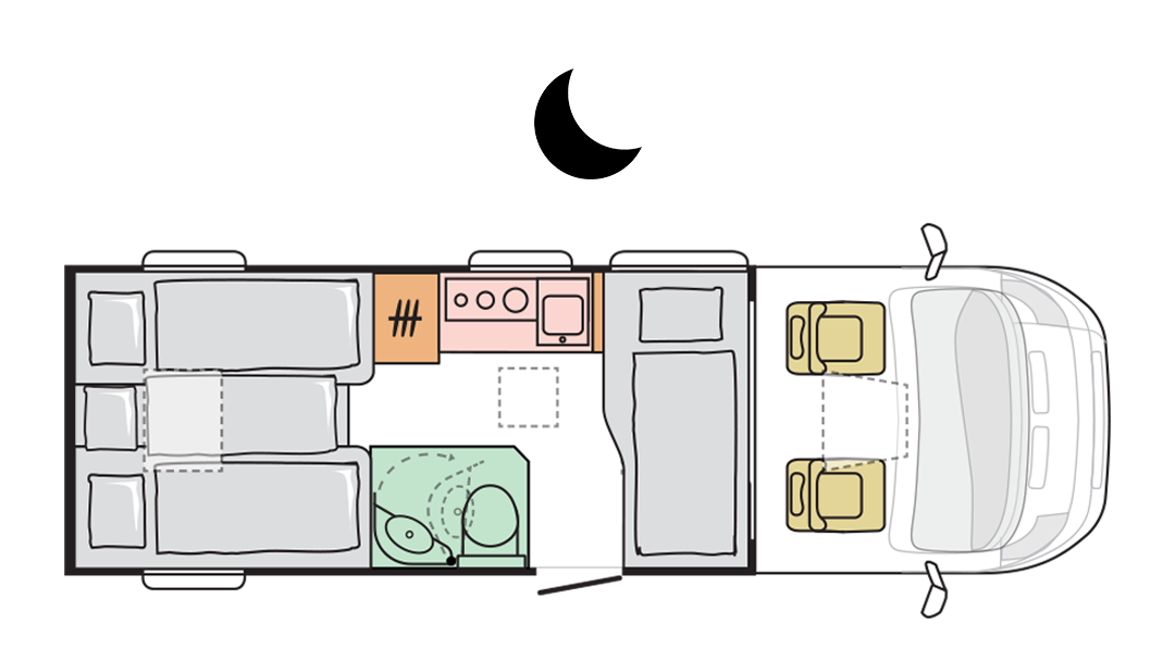 Adria Compact Plus DL - Night layout