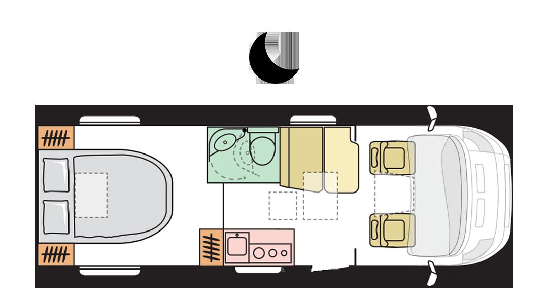 Adria Compact Plus SC - Night layout