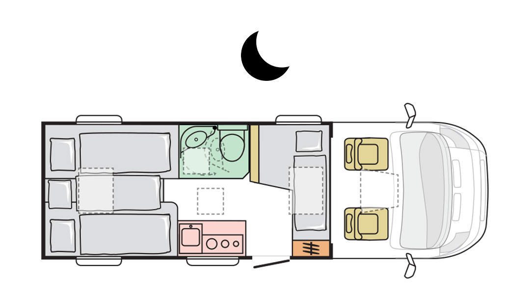 Adria Compact Plus SL - Night layout