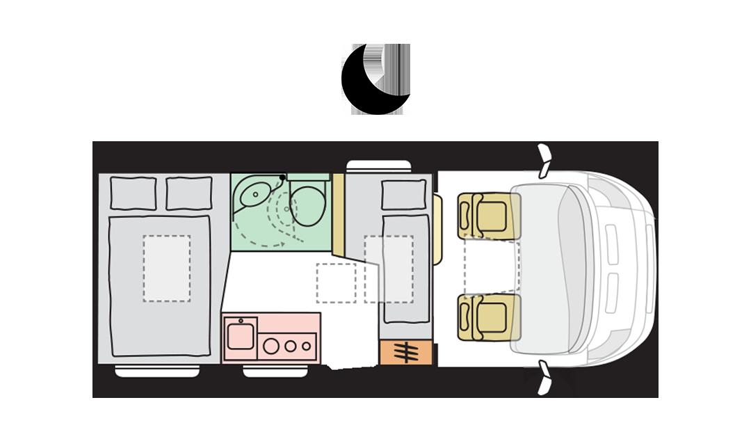 Adria Compact Plus SP - Night layout