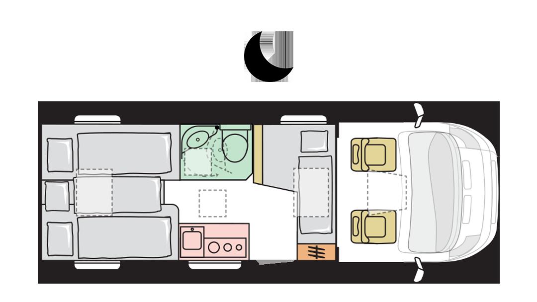Adria Compact Supreme SL - Night layout