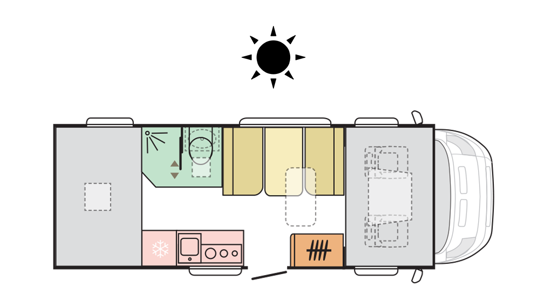 Adria Coral XL Axess 600 DP - Day layout