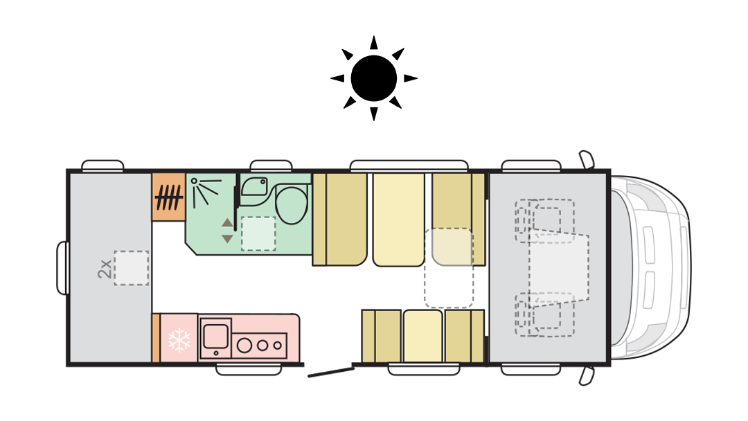 Adria Coral XL Axess 670 DK - Day layout