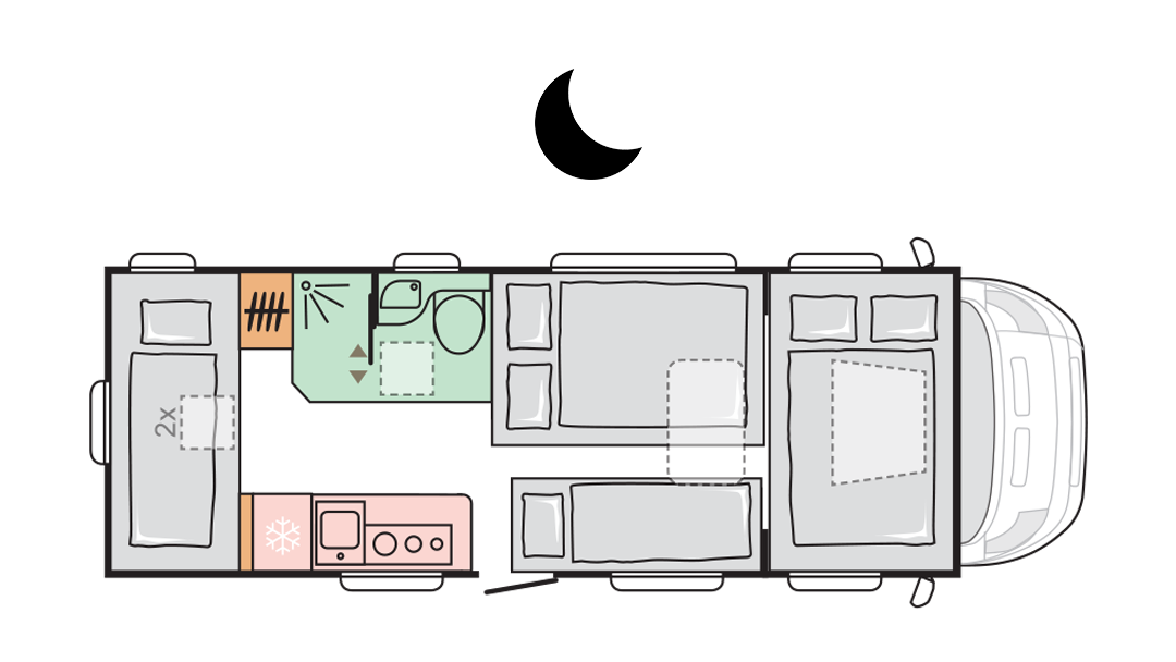 Adria Coral XL Axess 670 DK - Night layout