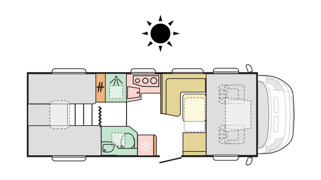 Adria Coral XL Axess 670 SL - Day layout