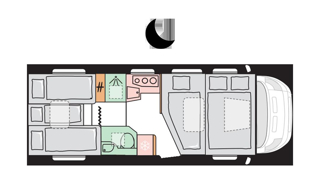 Adria Coral XL Axess 670 SL - Night layout