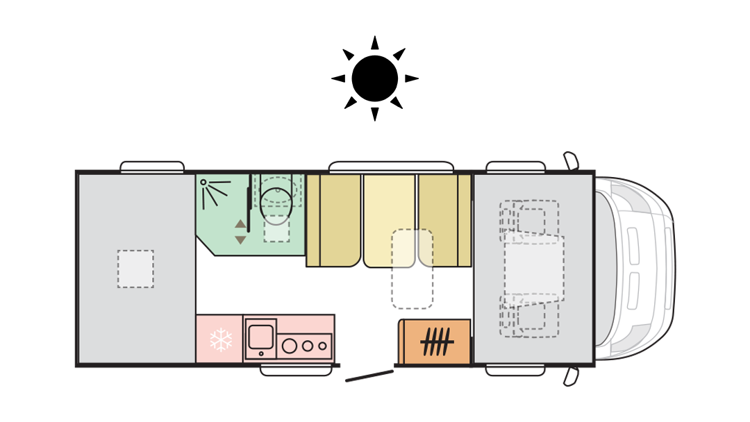 Adria Coral XL Plus 600 DP - Day layout