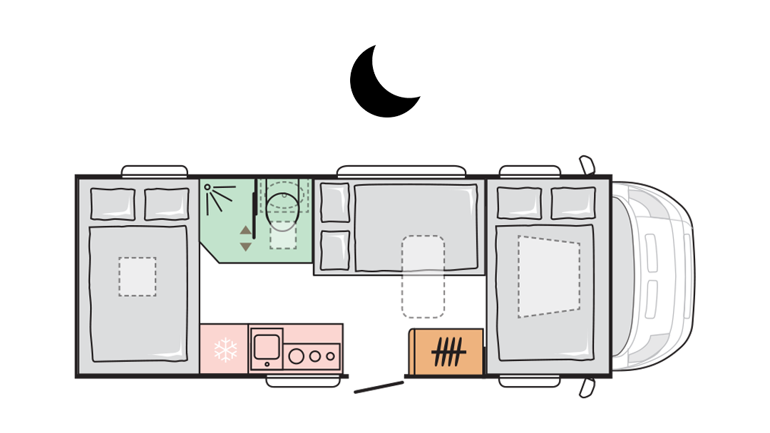 Adria Coral XL Plus 600 DP - Night layout