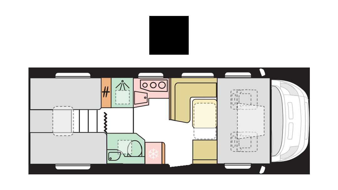 Adria Coral XL Plus 670 SL - Day layout