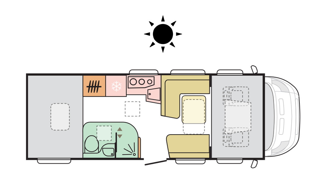 Adria Coral XL Plus 670 SP - Day layout