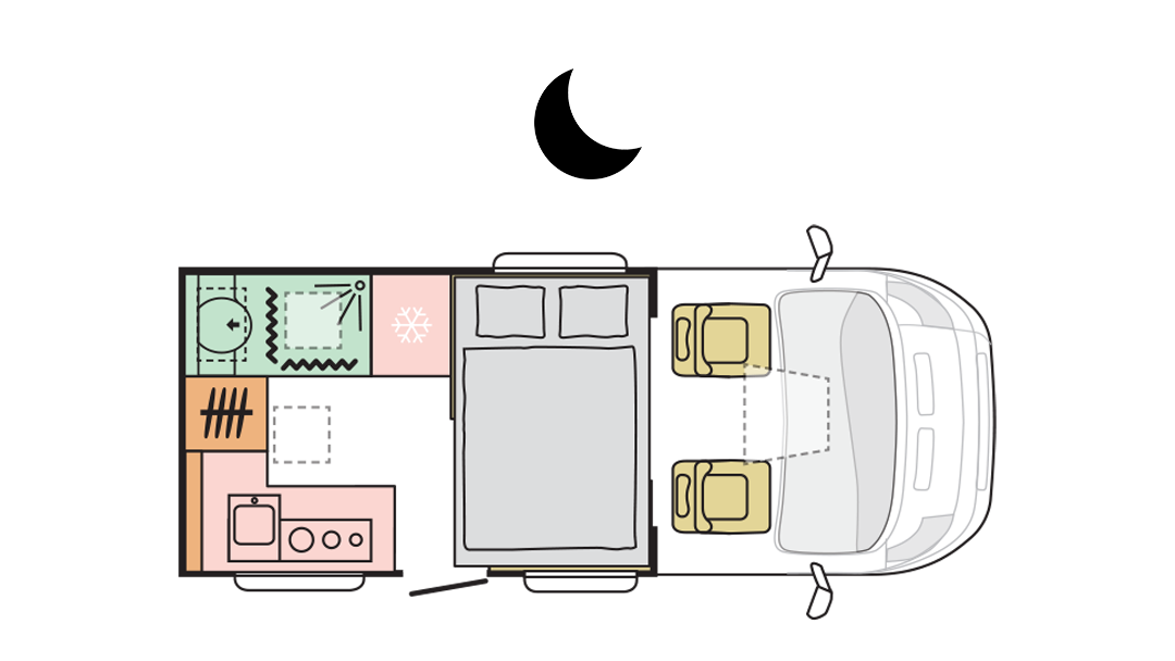 Adria Matrix Axess 520 ST - Night layout
