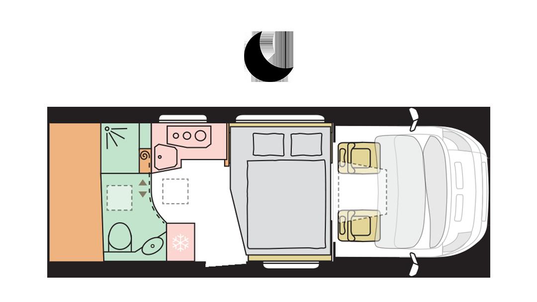 Adria Matrix Axess 600 DT - Night layout