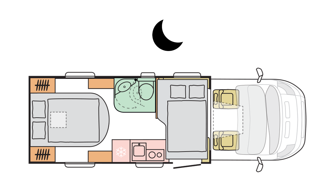 Adria Matrix Axess 600 SC - Night layout