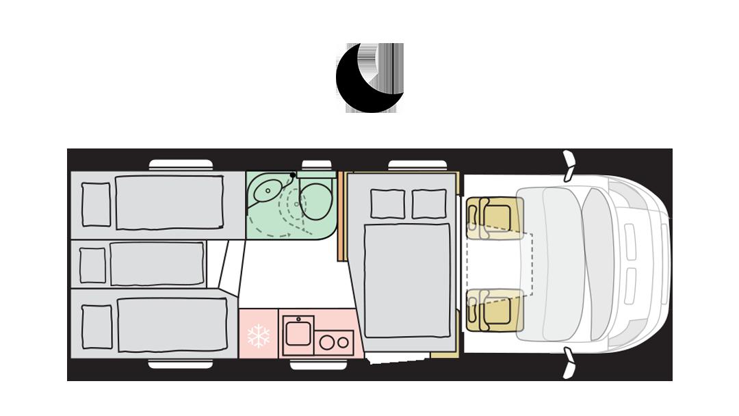 Adria Matrix Axess 600 SL - Night layout