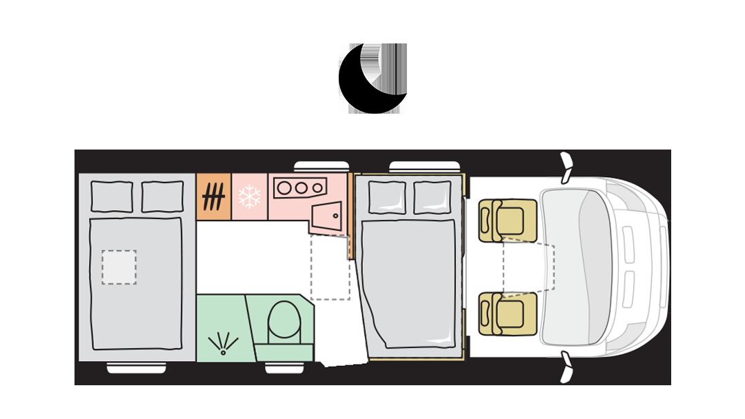 Adria Matrix Axess 600 SP - Night layout