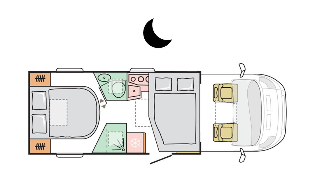 Adria Matrix Axess 640 DC - Night layout