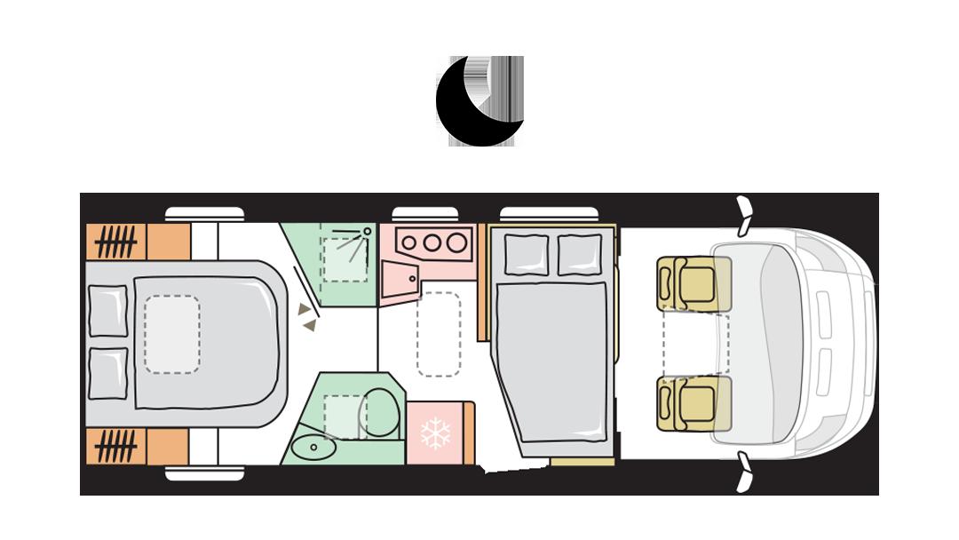 Adria Matrix Axess 670 SC - Night layout