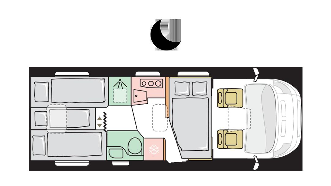 Adria Matrix Axess 670 SL - Night layout