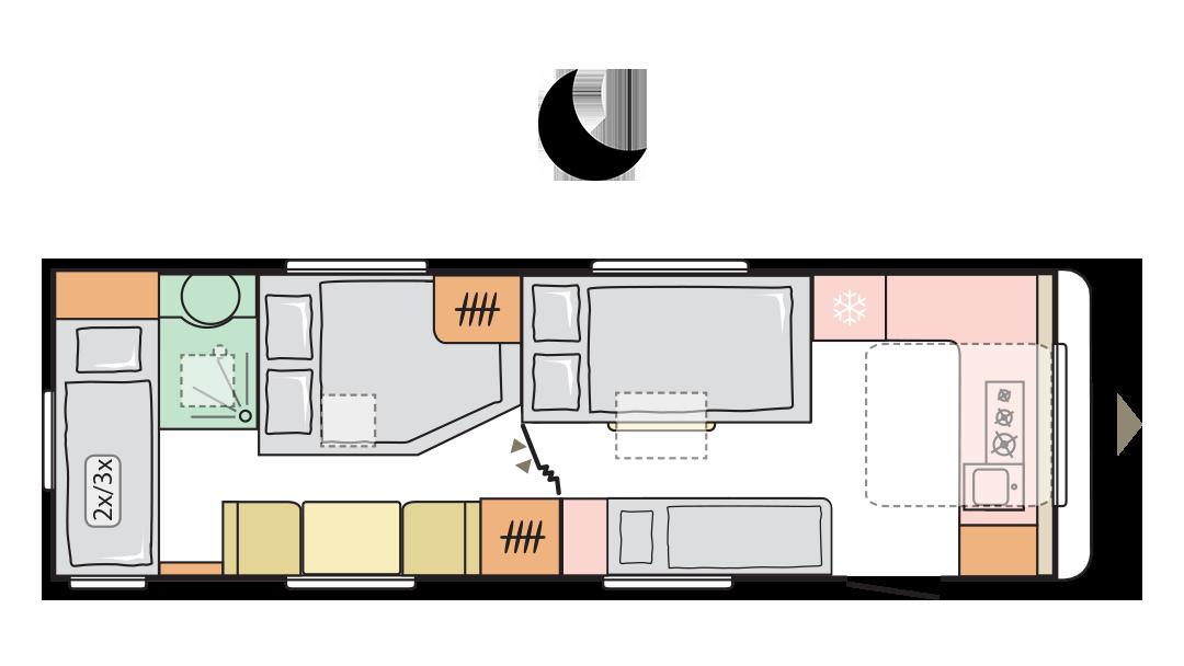 Adria Alpina 753 HK 2022 - Layout notte