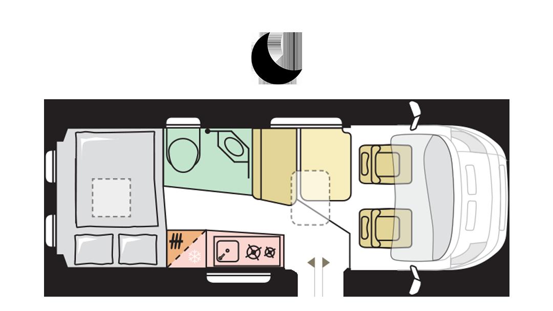 Adria Twin Supreme 600 SPB - Night layout