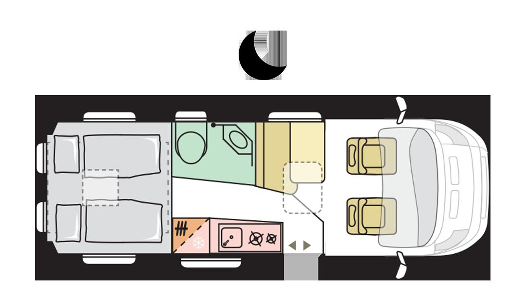 Adria Twin Supreme 640 SGX - Night layout