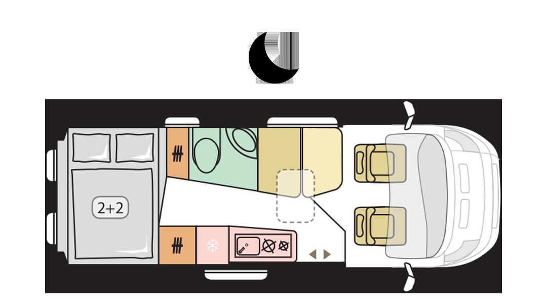 Adria Twin Supreme 640 SPB FAMILY - Night layout
